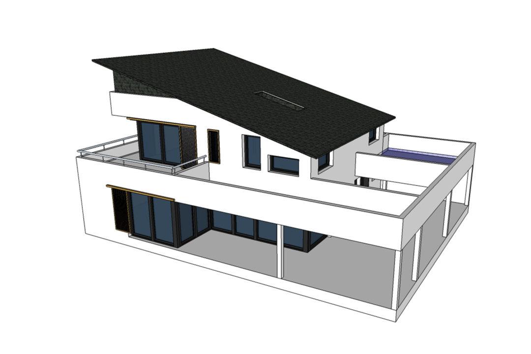 3D-Ansicht eines Einfamilienhauses in Hochstätten