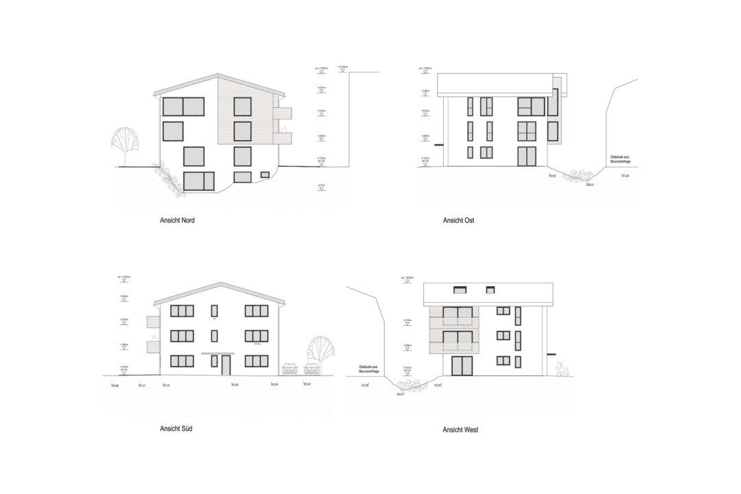 Entwurfsansichten eines Mehrfamilienhauses in Kempten-Stiftsstadt