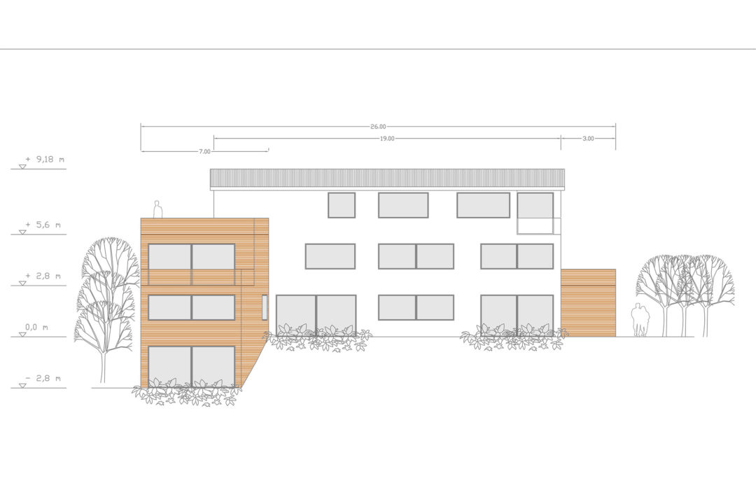 Entwurf für ein Mehrfamilienhaus in Ziegelberg