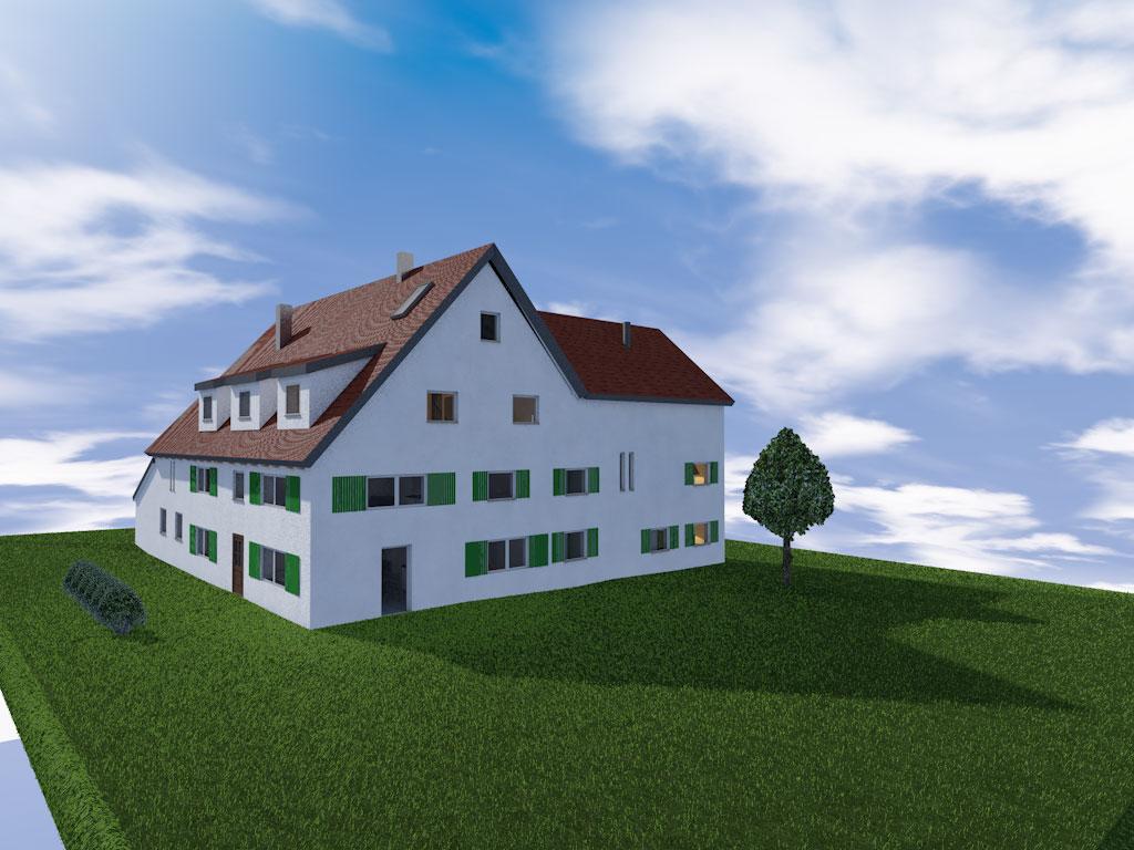 Architekturvisualisierung Bauernhof Sanierung Arlesried